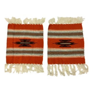1960s Folk Art Navajo Wool Carpet Miniatures - a Pair For Sale