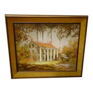 Mid 20th Century Greek Revival Style House Portrait Oil Painting, Framed For Sale