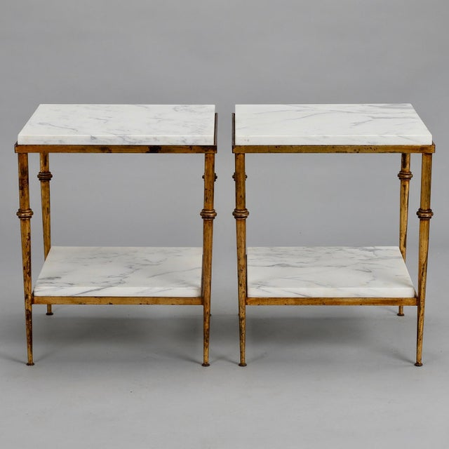 Pair of Spanish Gilt Metal and White Marble Side Tables - Image 9 of 11