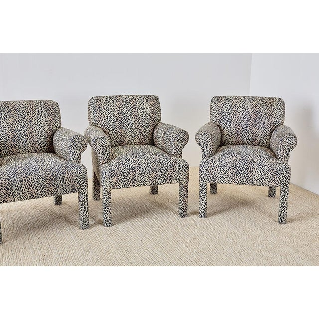 Hollywood Regency Set of Four Cheetah Leopard Upholstered Club Chairs For Sale - Image 3 of 13