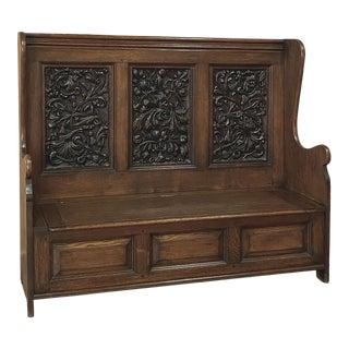 19th Century Country French Hall Bench With Carved Panels For Sale