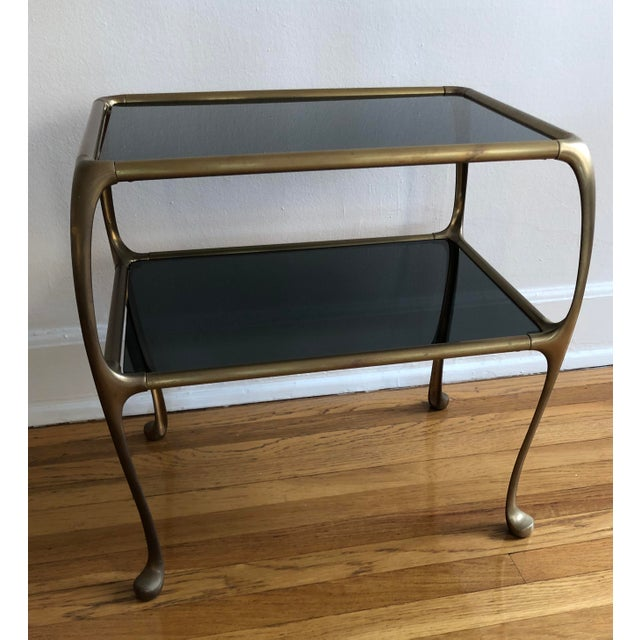 1960s Italian Maison Baguès Style Oil Rubbed Bronze Brass Table For Sale In Los Angeles - Image 6 of 9