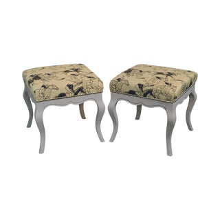 Gustavian Style Vintage Pair of Painted Stools W/ Race Horse Upholstery For Sale