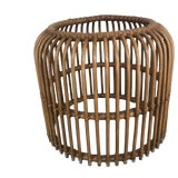 Image of 1970s Boho Chic Banded Rattan End Table For Sale