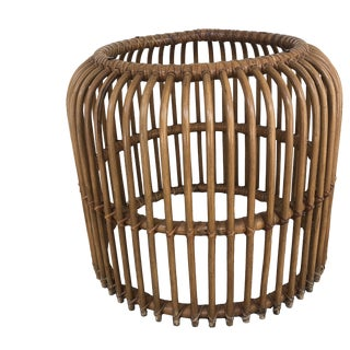 1970s Boho Chic Banded Rattan End Table For Sale