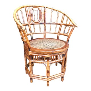1960's Brighton Pavilion Chinoiserie-Style Bamboo and Rattan Accent Chair For Sale