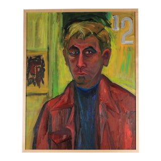 """Self-Portrait"", Bright Oil Painting in Lime Green, 1970s"