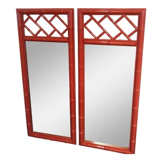 Vintage Chinese Chippendale Chinese Palm Beach Regency Red Lacquered Long Tall Wall Mirrors - a Pair For Sale