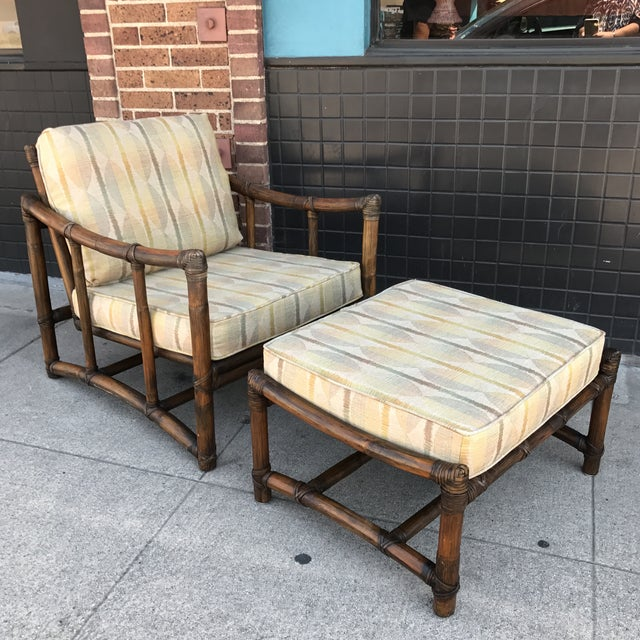 Vintage McGuire Bamboo and Linen Upholstered Lounge Chair & Ottoman - Image 2 of 10