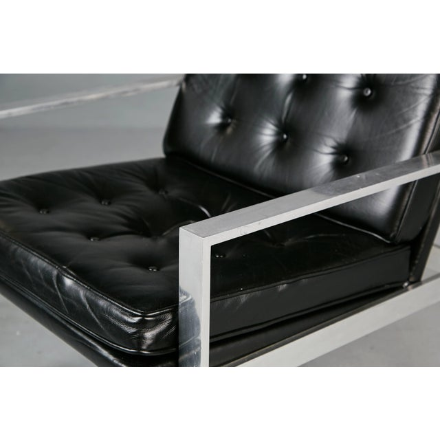 1960s Harvey Probber Aluminum and Black Tufted Leather Armchairs - a Pair For Sale - Image 9 of 11