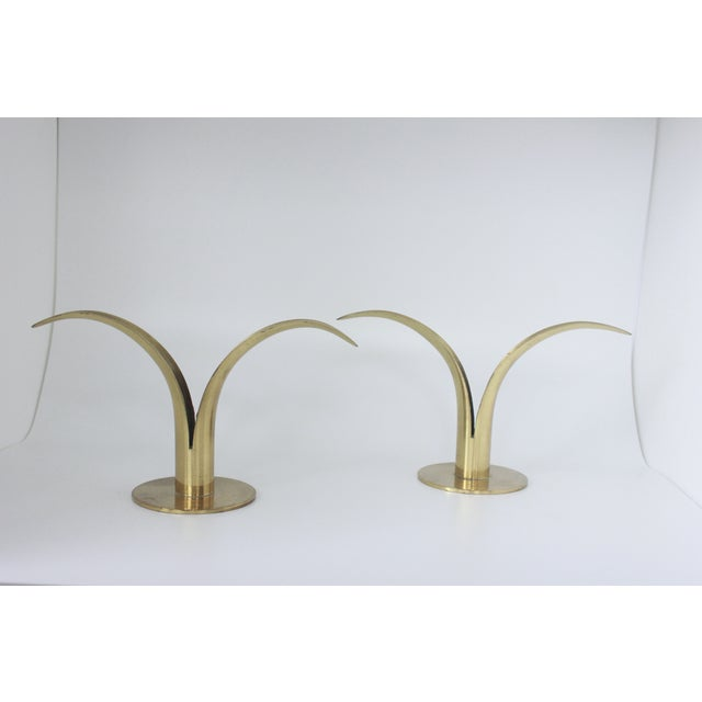 Ystad Metall Swedish Brass Candlesticks- A Pair - Image 3 of 8