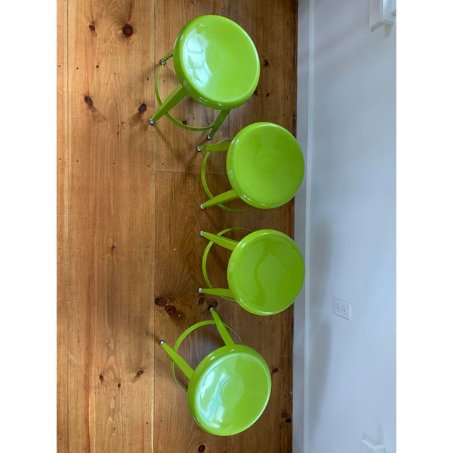 Crate & Barrel Crate & Barrel Kid's Bright Green Metal Stools- Set of 4 For Sale - Image 4 of 7
