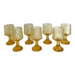 Set of 7 Lenox Impromptu Yellow Footed Glasses For Sale