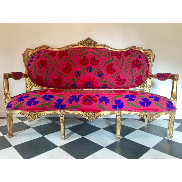 20th Century Boho Chic Red and Hot Pink Velvet French Settee - Image 11 of 11
