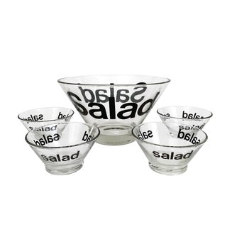 Vintage 1960s Mid Century Modern Salad Bowls Pop Art Helvetica Typography Serving Set - 5 Pieces For Sale