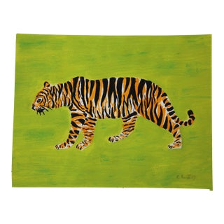 Chinoiserie Bengal Tiger Painting by Cleo Plowden For Sale