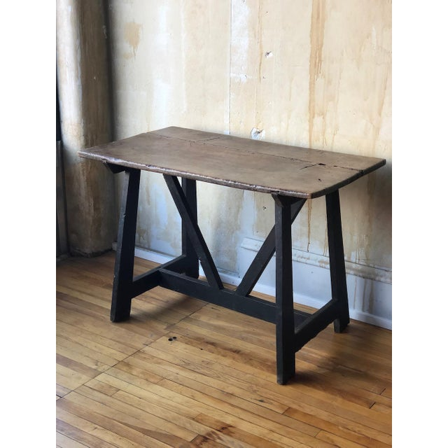 This Italian antique trestle table is fabulous. It's 17th century and made of walnut wood which has developed a beautiful...