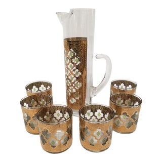 1960s Mid-Century Modern 22Kt Gold Culver Valencia Rocks Barware Set - 7 Pieces For Sale