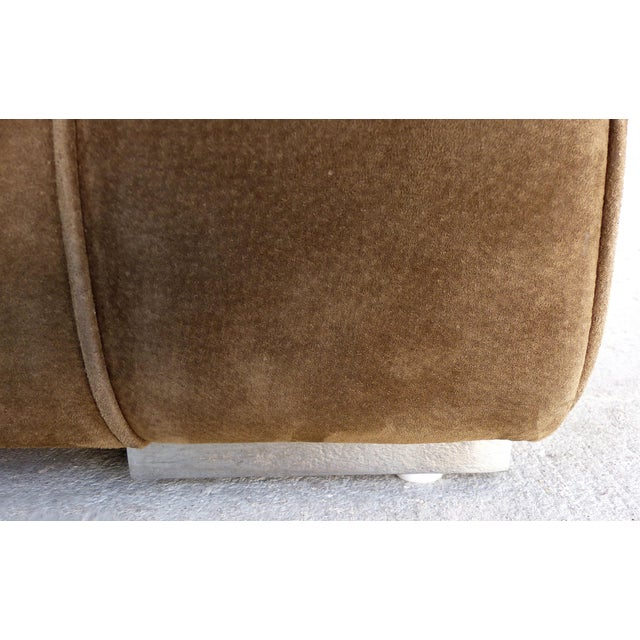 Large Tufted Square Suede Ottoman For Sale - Image 4 of 9