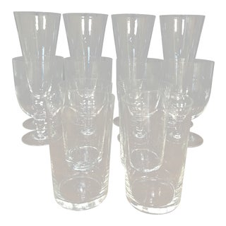 Mid-Century Modern Starburst Etched Clear Atomic Glassware- Set of 12 For Sale