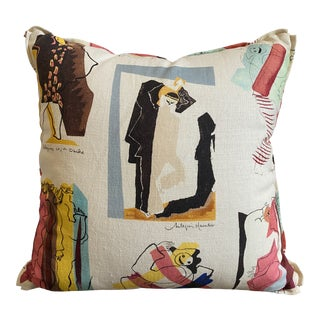 Pierre Frey Arlequins Vintage Custom Pillow With Butterfly Corners For Sale