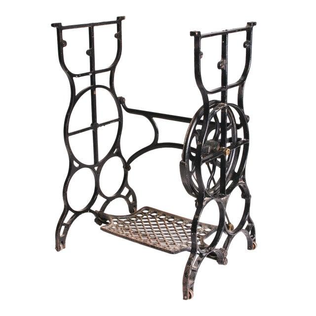 Vintage Industrial Black Iron Treadle Sewing Machine Base - Image 1 of 11