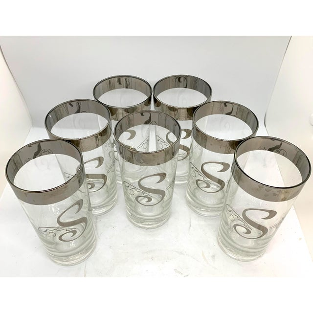 Mid Century Dorothy Thorpe Monogram S Highball Set of 7. Cocktails Anyone? Only if your name starts with an S!!! Platinum...