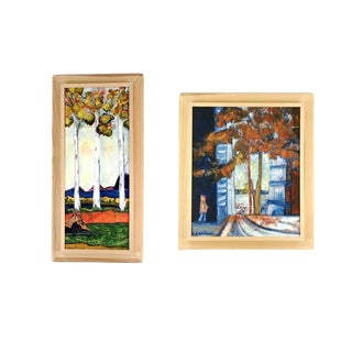 Late 20th Century Sophie Prins Gapinski Untitled Original Oil Paintings - a Pair For Sale