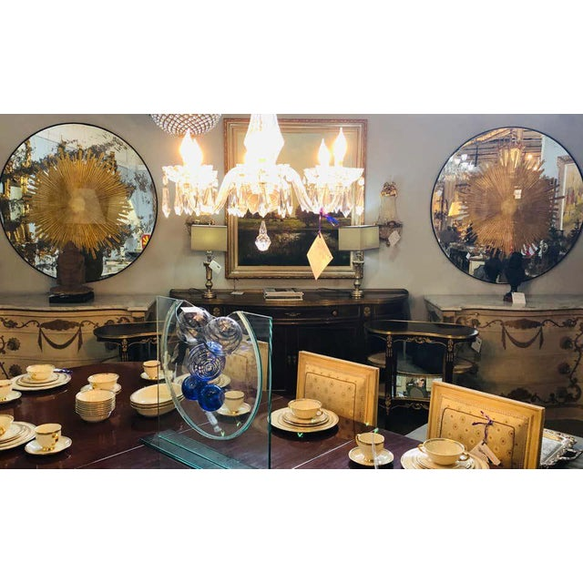 Gold Monumental Gilt Gold & Silver Glass Sunburst Mirrors or Table Top Pair For Sale - Image 8 of 13