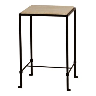 'Diagramme' Wrought Iron and Honed Travertine Drinks Table by Design Frères For Sale