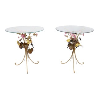 Mid 20th Century Italian Floral Tole Metal Side Table- A Pair