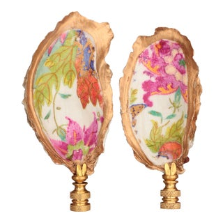 Tobacco Leaf Oyster Shell Lamp Finials - a Pair For Sale