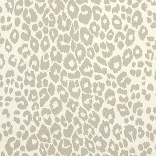 Schumacher Iconic Leopard Pattern Animal Print Wallpaper in Linen Beige - 2-Roll Set (9 Yards) For Sale