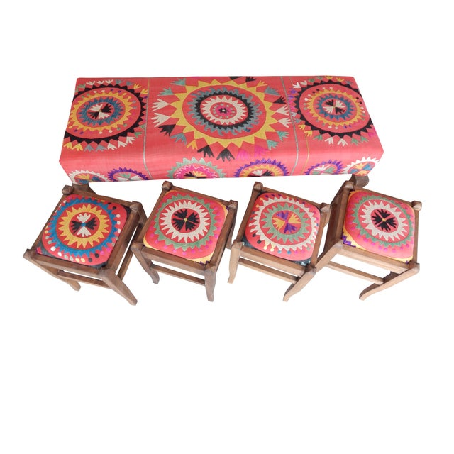 Boho Chic Set of 5 Suzani Covered Bench Handmade Ottoman From Anatolian With 4 Pieces Footstool For Sale - Image 3 of 13