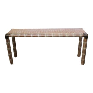 Vintage Console Table Faux Bamboo With Antique Brass Mounts For Sale