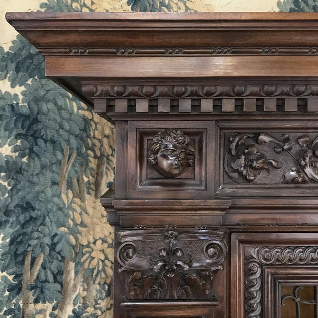 Early 20th Century Antique Italian Renaissance Walnut Curio Cabinet For Sale - Image 5 of 13