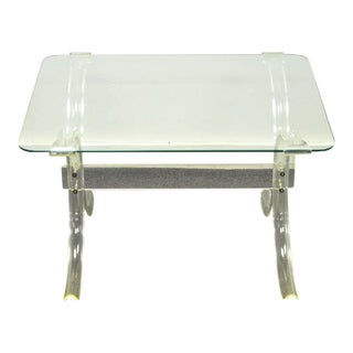 Vintage Mid Century Modern Glass Top Lucite X Form Butterfly Side Table