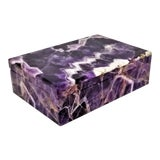 Image of Vintage Amethyst Jewelry Keepsake Box - Magnificent Gemstone Semi-Precious Rock Crystal - Mid Century Modern Palm Beach Chic Alabaster Marble For Sale