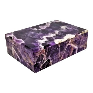 Vintage Amethyst Jewelry Keepsake Box - Magnificent Gemstone Semi-Precious Rock Crystal - Mid Century Modern Palm Beach Chic Alabaster Marble For Sale
