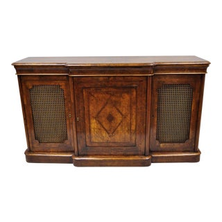 19th Century Victorian Burr Walnut Inlaid Credenza For Sale