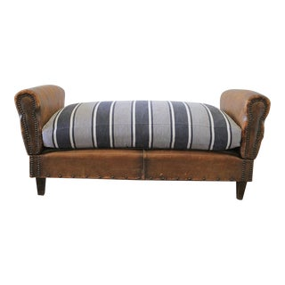 Sale Antique French Leather Drop Arm Daybed Sofa With French Mattress Ticking For Sale