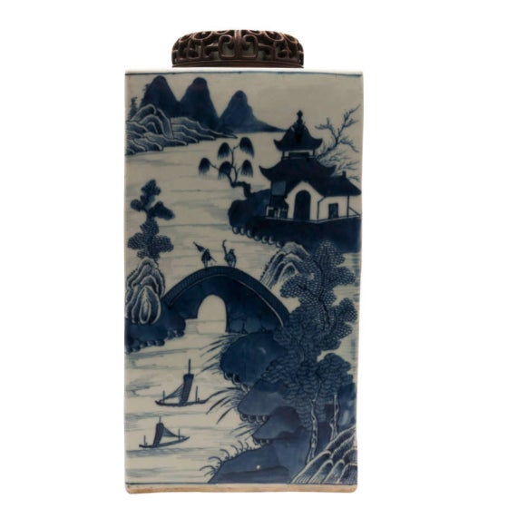 A beautiful Chinese Export Canton Tea Caddy in a large scale square shape. This Chinese export Canton export blue and...