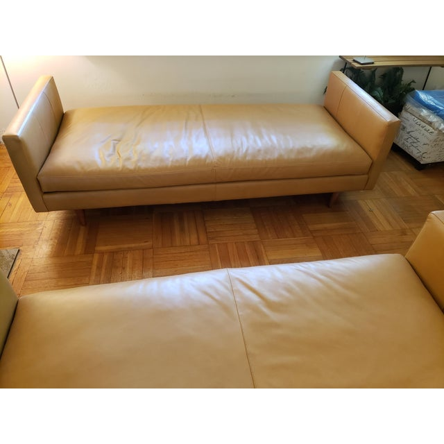 Modern Room & Board Tan Classic Leather Sofas - A Pair For Sale - Image 3 of 9