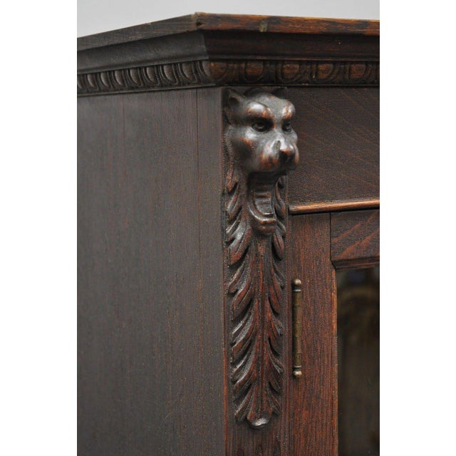 Victorian Oak Glass Two Door Bookcase With Claw Feet Lion For Sale - Image 12 of 13