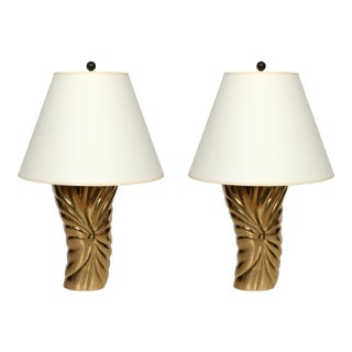 """Pair of Mid Century Brass """"Draped"""" Lamps For Sale"""