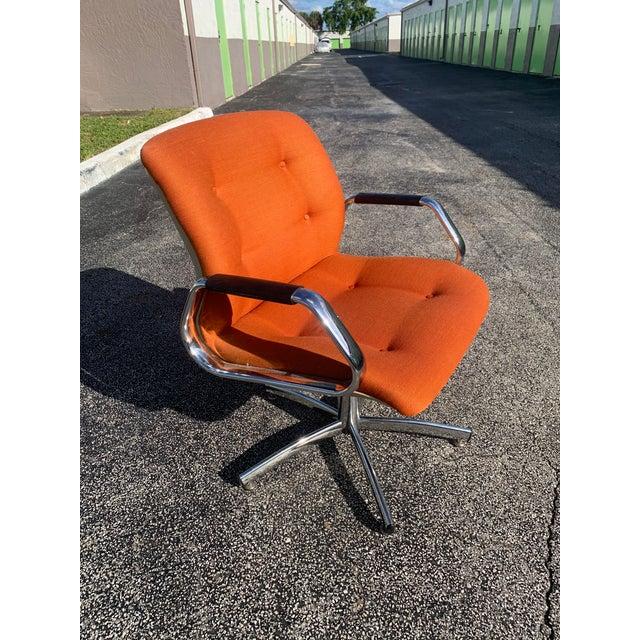 Vintage Steelcase Orange Tweed Office Swivel Chair For Sale - Image 10 of 12