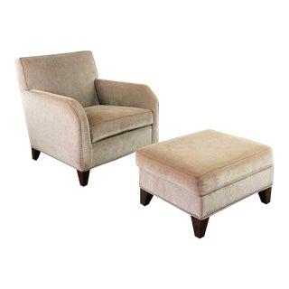 Vintage Ethan Allen Nailhead Trimmed Armchair & Ottoman - 2 Pieces For Sale