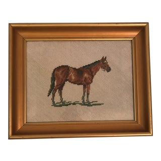 Framed Equestrian Horse Needlepoint For Sale
