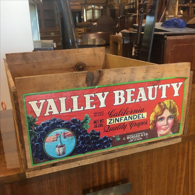 Beautiful bright colors on this vintage grape/fruit crate from Woodbridge, California. Excellent condition. We have some...