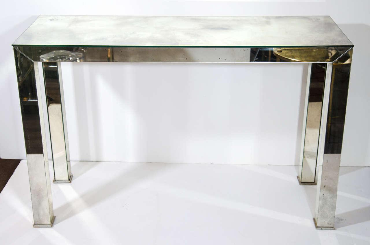 Hollywood Regency Smoked Mirrored Console Table   Image 2 Of 6